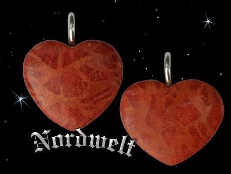 Herz Schmuck- Anhänger Koralle rote Schaumkoralle