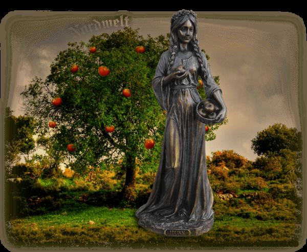 Idunn Göttin der Jugend Figur Idun Iduna Göttin Bronzefigur Frühlingsgöttin Fruchtbarkeitsgöttin