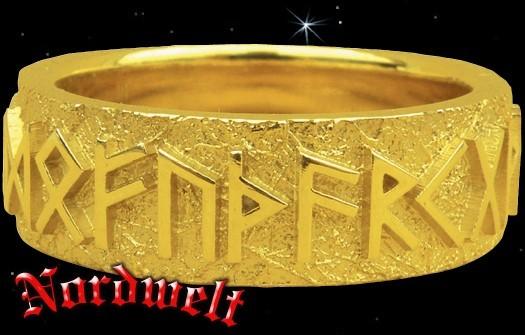 Runenring 24er Futhark 585er Gold