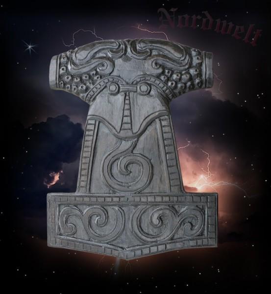Thorhammer Holz schnitzerei Thorshammer Mjölnir Handarbeit Wandrelief Wandbild