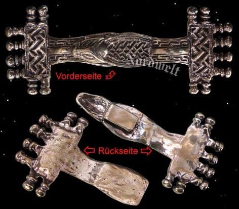 Fränkische Bügelfibel Beschlag Verschlussriegel aus Bronze Fibel Merowinger