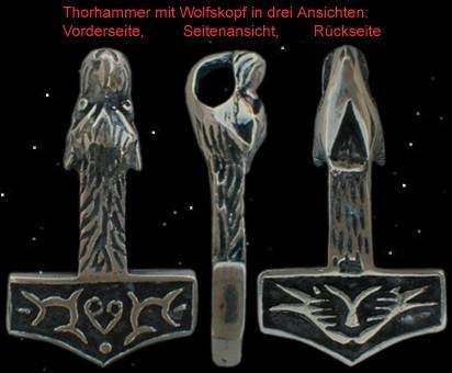 """Großer Wolfskopf Thorhammer """"Geri"""" - 925er Silber"""