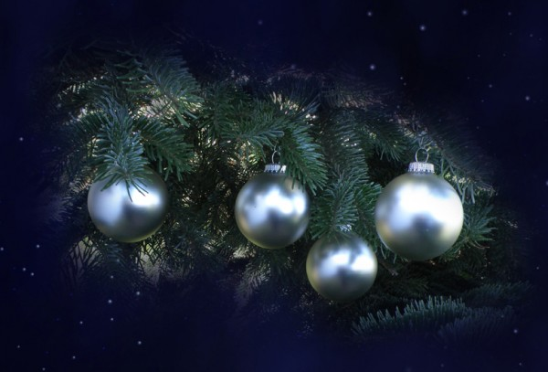 Weihnachtsbaum-Kugeln, antik silber (8 cm)