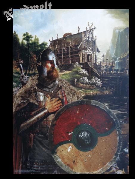 Wikinger mit Schwert und Schild, Langhaus Poster mythologischer Kunstdruck Nordmann