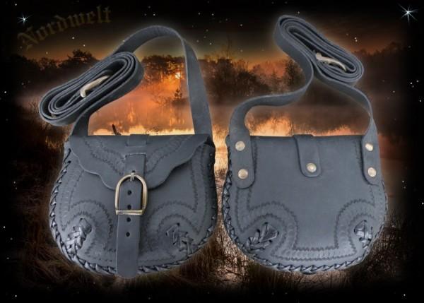 Schwarze Leder Umhängetasche für Larp Mittelalter- Reenactment Wikinger