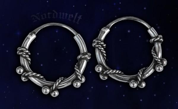 Creolen mit kleinen Silberkugeln Ohrring Ohrschmuck 925er Silber