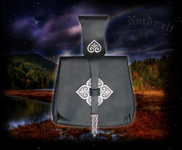 Birka Wikinger Tasche mit Beschlägen - schwarz