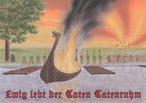 germanische Bestattung Postkarte ewig lebt der Toten Tatenruhm Edda heidnisch