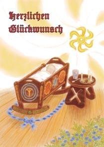 Postkarte mit Sonnenrad und Lebensrune heidnische Grusskarte