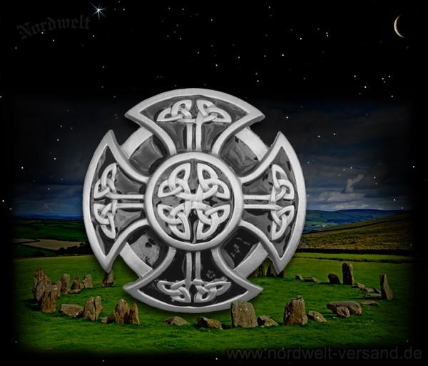 """Gürtelschnalle """"keltisches Kreuz"""", Zinn (schwarz)"""