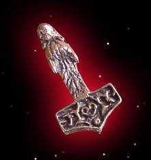 Thorhammer mit Wolfskopf Anhänger Bronze Thors Hammer Mjölnir