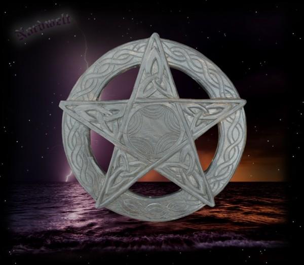 Wandrelief Pentagramm Fünfstern, Hexenstern, Maarfuß, Drudenfuß geschnitzt Holz Wandbild