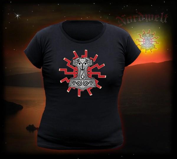 Mjölnir Skane Thorhammer T-Shirt Thorshammer Girli, T-Hemd mit schwarzer Sonne
