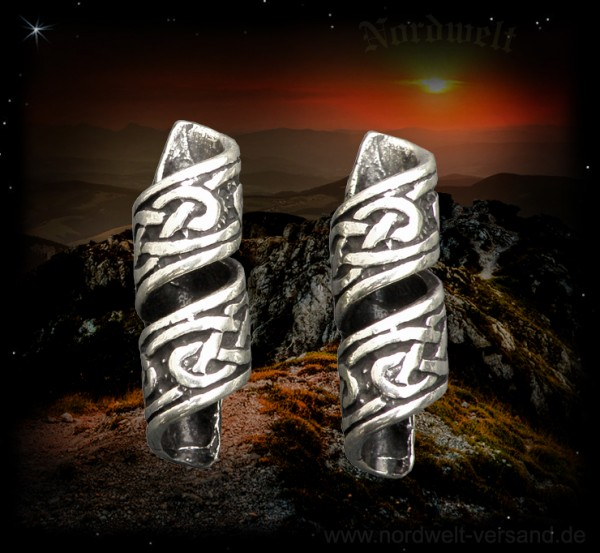 Celtic beard sleeve, beard jewelry, beard bead, Celtic braided pattern, made of 925 silver