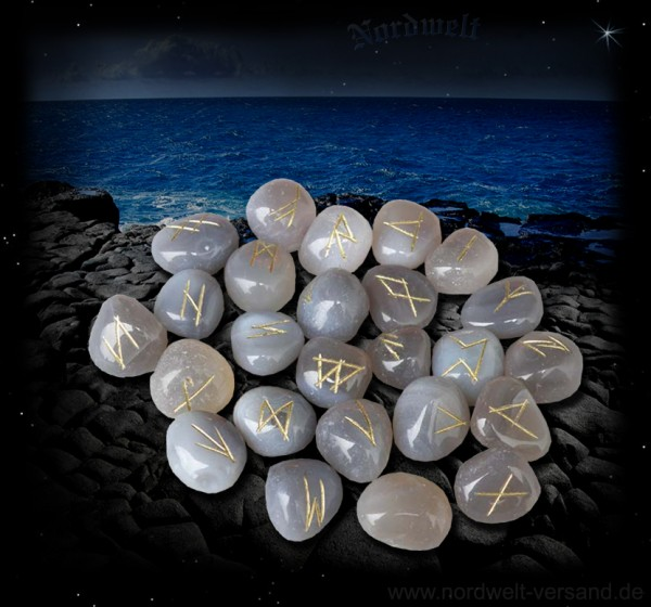 Runensteine aus Achat, 24er Futhark - 25 Steine