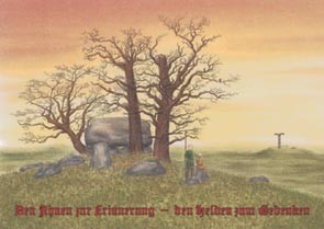 Germanische Bestattung Ahnengedenken Postkarte Großsteingrab Sonnenuntergang