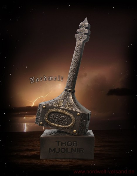 Thohammer Thors-Hammer Statue Mjölnir bronziert bronzefarben Donars Hammer Thor