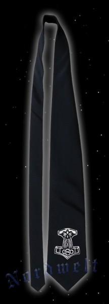 Krawatte, schwarz mit silberfarbenem Thorhammer