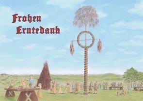 Erntedank Questenbaum Postkarte heidnischer Brauch Erntedankfest