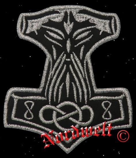 """Aufnäher """"Thorhammer"""" Silber - klein"""