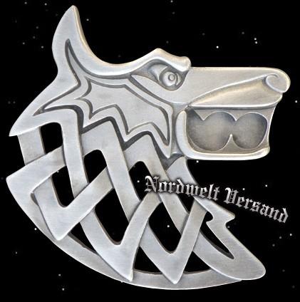 Anhänger Thors Hammer mit Thor und Wolf Fenris 925er Silber Länge 3,2 cm