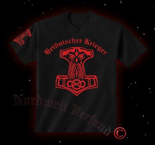 """T-Hemd Thorhammer """"Heidnischer Krieger"""" roter Aufdruck"""