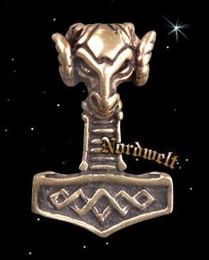 Widderkopf Thorhammer Anhänger Bronze Thors Hammer Mjönir