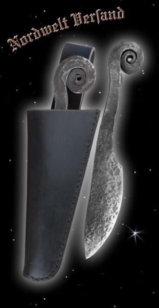 Ringknaufmesser mit schwarzer Lederscheide