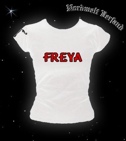 """Frauen T-Hemd """"Freya mit Irminsul"""" Weiß"""