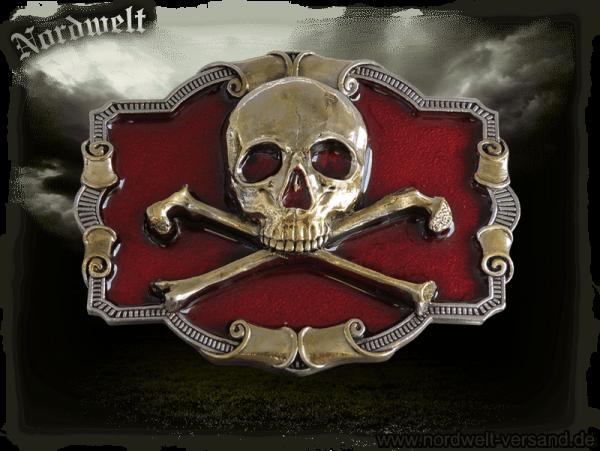 Buckle Skull Biker Gürtelschnalle mit Totenkopf Freund Hein Totenschädel Piraten- Symbol