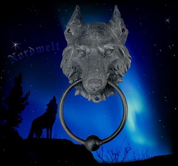 Wolf Türklopfer Wolfskopf Fenriswolf aus Polyresin