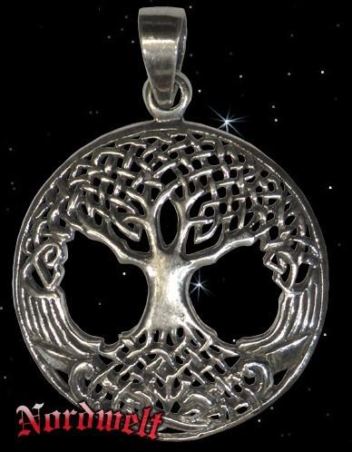 Yggdrasil Weltenesche Lebensbaum Anhänger Silber
