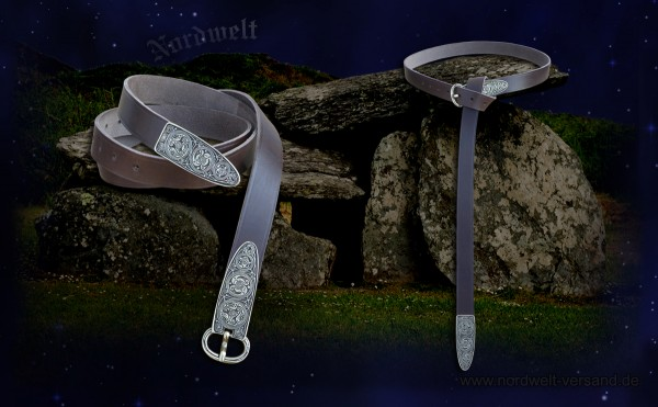 """Irischer historischer Gürtel aus braunem Leder """"Fund von Legore"""""""