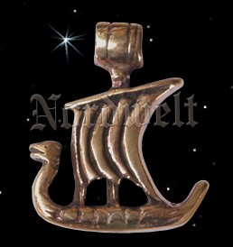 Anhänger Wikingerschiff Bronze Schmuck Langboot Wikinger Drachenschiff