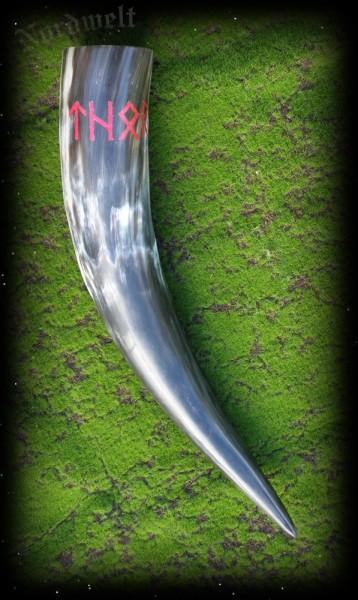 Methorn Schnitzerei Trinkhorn Thor Runenschrift Odins Runen Horn