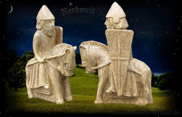 Vikings on horseback, Lewis figure, artificial stone