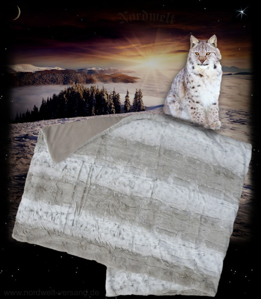 Decke Luchs / Winterfell / Winterluchs - Felldecke, Acryl / Kunstfell