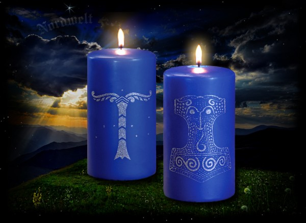 Kerze mit Irminsul + Kerze mit Skane Thorhammer