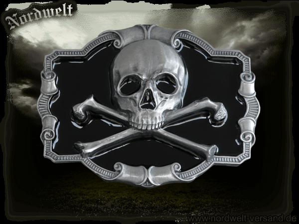 Gürtelschnalle mit Totenkopf Skull Freund Hein