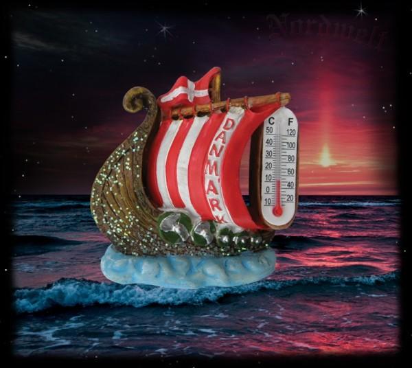 Wikingerschiff Thermometer aus Polyresin Kunststein Langboot der Wikinger