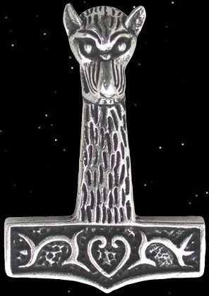 Wolfskopf Thorhammer-925er Silber Thors Hammer