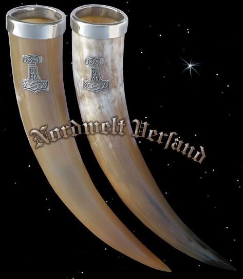 Prunkhorn mit Zinnrand und kleinem Thorhammer - 0,5 l
