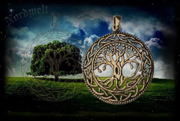 Lebensbaum Anhänger Schmuck Bronze Yggdrasil Weltenesche
