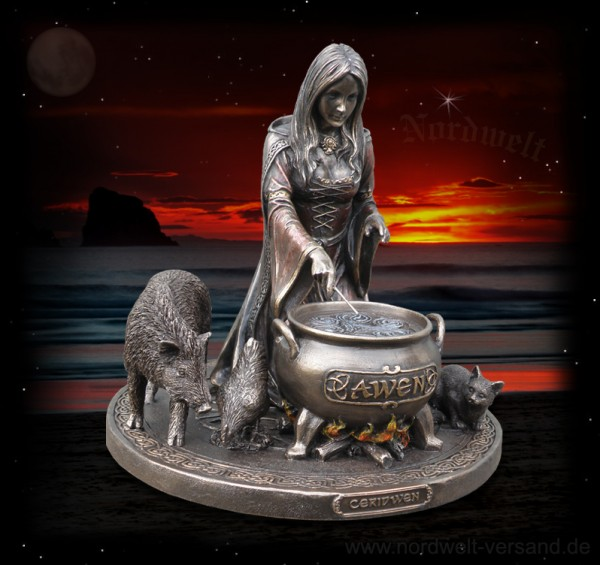 Keltische Göttin Ceridwen, bronzefarbend Statue