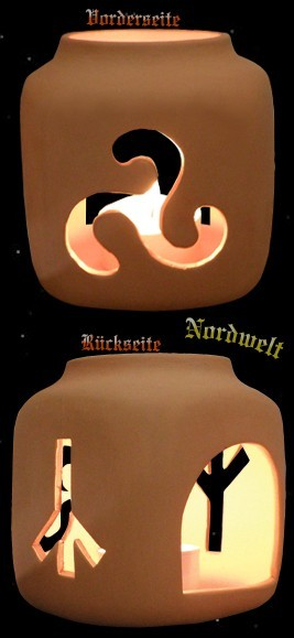 Runenleuchter mit Triskele, Keramik (natur)