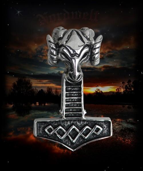 Thorhammer mit Widderkopf Edelstahl Thors Hammer Mjölnir