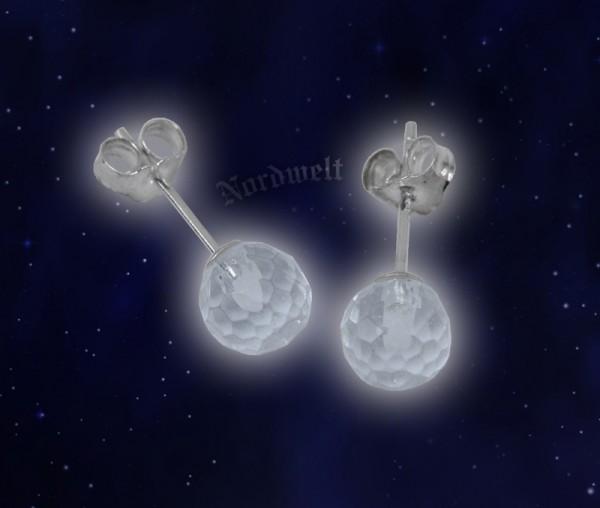 Bergkristall Ohrstecker, facettiert 925 Sterling Silber