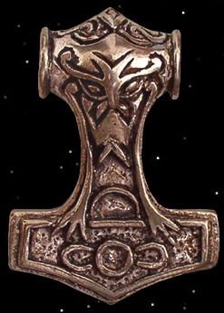 Thorhammer mit Thorskopf, bronze