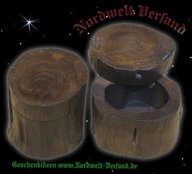 mittelalterliche Cache Holzdose mit Deckel Nanocache und Geocaching Spiele Behälter