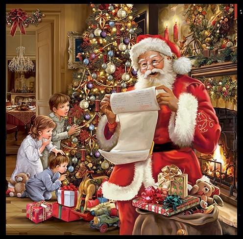 Servietten Weinachtsmann Nostalgie Julbaum Julfeier am Jul-Baum Weihnachtsbaum